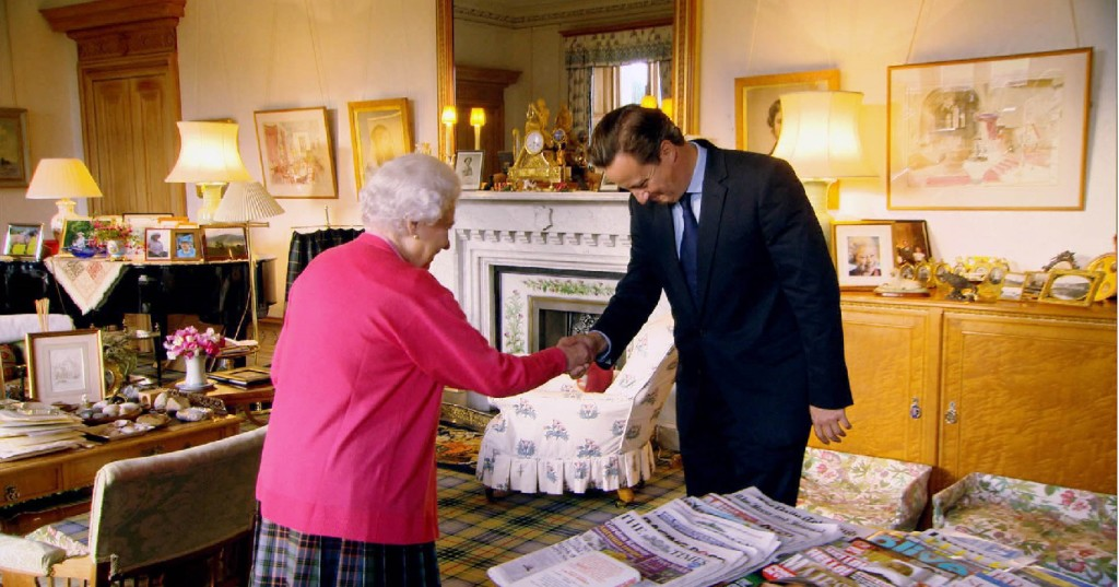 EMBARGOED: FOR PUBLICATION FROM 12TH MARCH 2013  From Oxford Film and Television    OUR QUEEN  Sunday 17th March 2013 on ITV   Screen grab shows: The Queen at her audience with Prime Minister David Cameron in her Private sitting room Balmoral   Our Queen, a landmark, in-depth portrait of  Queen Elizabeth II during one of the most momentous years of her reign.   Our Queen follows the Jubilee from the inside. It also explores the modern Monarchy, delivering an insight into the way the worldÕs most famous woman leads the worldÕs best-known royal house, how she balances tradition with modernisation, and how her level  of public affection is maintained amid the ever-changing political and social landscape of her reign.  Filmed throughout 2012, this observational two-hour documentary is a study of leadership, judgement and character, set against the spectacular pageantry of the Diamond Jubilee year, which sets out to provide a close perspective of Our  Queen and what she means to Britain and the world.  © Oxford Film and Television   For further information please contact Peter Gray  0207 157 3046 peter.gray@itv.com   This picture is © Oxford Film and Television  and can only be reproduced for editorial purposes directly in connection with the programme Our Queen  or ITV. Once made available by the ITV Picture Desk, this photograph can be reproduced once only up until the Transmission date and no reproduction fee will be charged. Any subsequent usage may incur a fee. This photograph must not be syndicated to any other publication or website, or permanently archived, without the express written permission of ITV Picture Desk. Full Terms and conditions are available on the website www.itvpictures.com