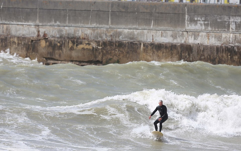 BRIGHTON SURFERS - EAST SIDE OF BRIGHTON MARINA - IN THE HIGH WINDS 6-5-15