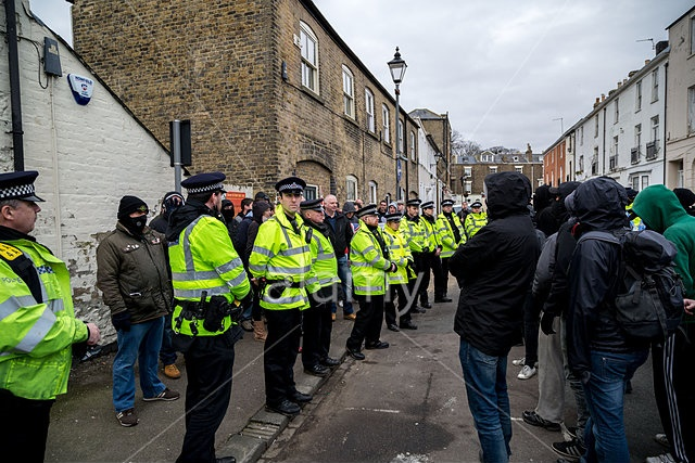 EF2EAM Kent, UK. 25th Jan, 2015.  Far-Right Protest against illegal immigrants in Dover © Guy Corbishley/Alamy Live News