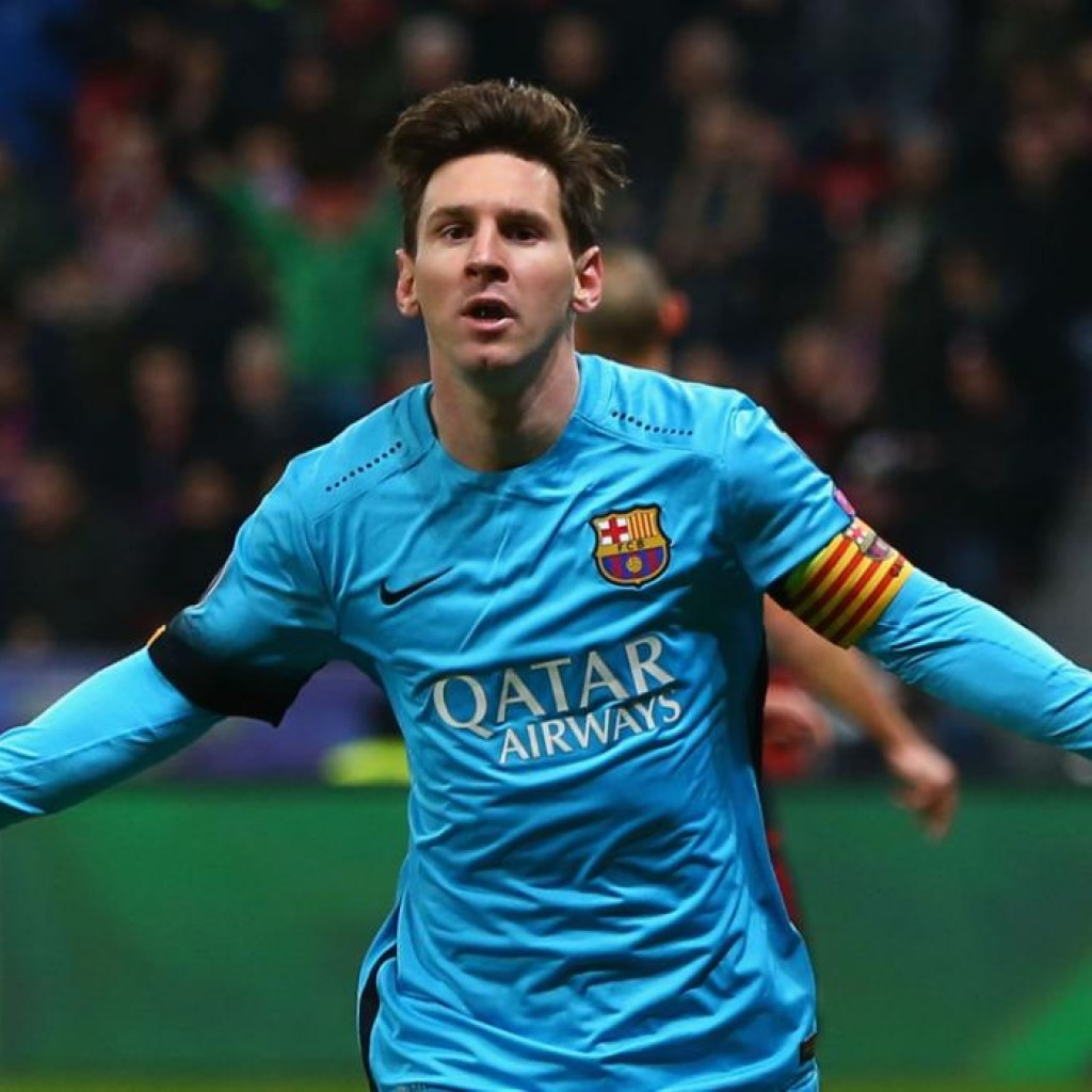 LEVERKUSEN, GERMANY - DECEMBER 09: Lionel Messi of Barcelona celebrates scoring the first Barcelona goal during the UEFA Champions League Group E match between Bayer 04 Leverkusen and FC Barcelona at BayArena on December 9, 2015 in Leverkusen, Germany.  (Photo by Alex Grimm/Bongarts/Getty Images)
