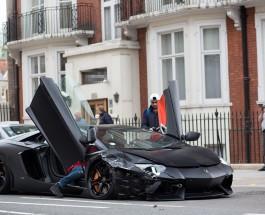 Ламборжини Авентадор стоимостью £300 000 попал в аварию в Лондоне.
